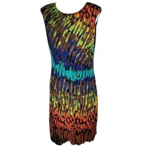 Ellen Tracy Women Dress Multi Abstract Ruched 10